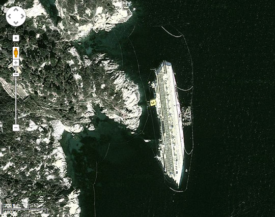 Collision Detection Viewing Massive Accidents Using Google Maps - Cruise ship google earth